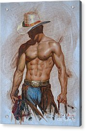 Original Oil Painting Gay Man Body Art-cowboy#16-2-5-19 Acrylic Print