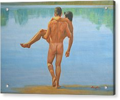 Original Oil Painting Man Body Art -male Nude By The Pool -073 Acrylic Print