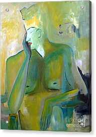 Original Painting Green Figurative Man Portrait Abstract Unique Decorative Abstract Art Reproduction Acrylic Print by Marie Christine Belkadi