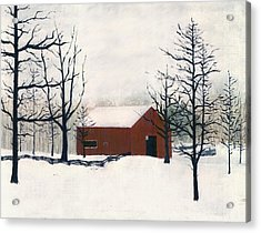 Original Painting Red Barn Snow Maryland Acrylic Print