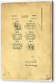 Original Patent For Lego Toy Building Brick Acrylic Print by Edward Fielding