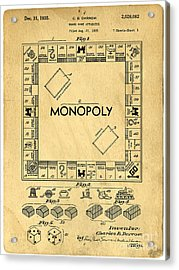 Acrylic Print featuring the digital art Original Patent For Monopoly Board Game by Edward Fielding