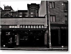 Original Starbucks Black And White Acrylic Print by Benjamin Yeager