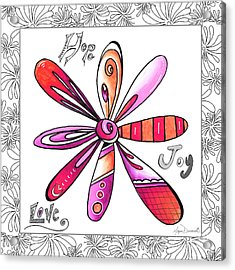 Original Uplifting Inspirational Flower Quote Typography Art By Megan Duncanson Acrylic Print by Megan Duncanson