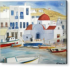 Acrylic Print featuring the painting Watercolor - Mykonos Greece Detail by Cascade Colors