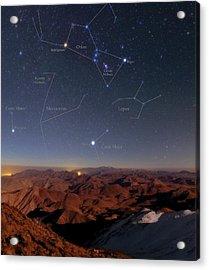 Orion And Sirius Over Iran Acrylic Print by Babak Tafreshi/science Photo Library