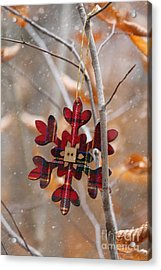 Acrylic Print featuring the photograph Ornament Hanging On Branch With Snow Falling by Sandra Cunningham