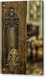 Ornate Brass Doorknob Acrylic Print by Lynn Palmer
