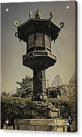 Ornate Lamp Post In Front Of A Buddhist Temple Acrylic Print