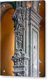 Ornate Mexican Stone Column Acrylic Print by Lynn Palmer
