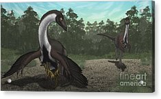 Ornithomimus Mother Dinosaur Acrylic Print by Vitor Silva