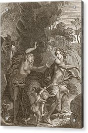Orpheus, Leading Eurydice Out Of Hell Acrylic Print by Bernard Picart