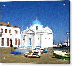 Orthodox Church Mykonos Island Greece Acrylic Print by Dan Chavez