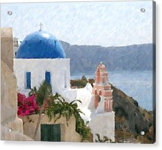 Orthodox Church Santorini Island Greece Acrylic Print by Dan Chavez
