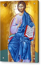 Orthodox Icon Of Jesus In Blue Acrylic Print