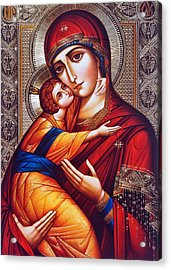 Orthodox Mary And Jesus Acrylic Print by Munir Alawi