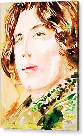 Oscar Wilde Watercolor Portrait.3 Acrylic Print by Fabrizio Cassetta