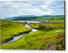 Osdale River Leading Into Loch Dunvegan In Scotland Acrylic Print