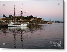 Oslo Harbor At Sunset Acrylic Print by Carol Groenen