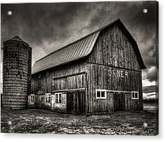 Oslo Corner In Black And White Acrylic Print by Thomas Young