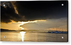 Oslo Harbor Sunset Acrylic Print by Aaron Bedell