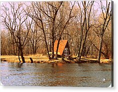 ottage oh the Fox River Acrylic Print by Victoria Sheldon