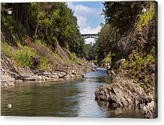 Acrylic Print featuring the photograph Ottauquechee River Flowing Through The Quechee Gorge by John M Bailey