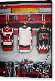 Ottawa 67's Goalie Locker Room Acrylic Print by Jill Alexander