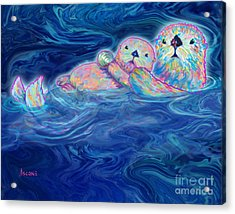 Acrylic Print featuring the mixed media Otter Family by Teresa Ascone