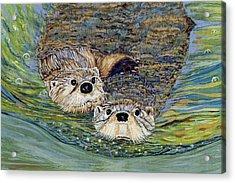 Otter Pals Acrylic Print by Sandra Wilson