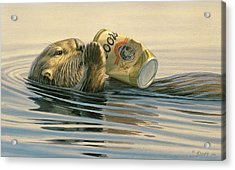 Otter's Toy Acrylic Print by Paul Krapf