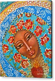Our Lady Of The Roses Acrylic Print by Maya Telford