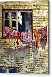 Out The Window Acrylic Print by Louise Peardon