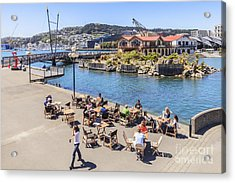 Outdoor Cafe Wellington New Zealand Acrylic Print by Colin and Linda McKie