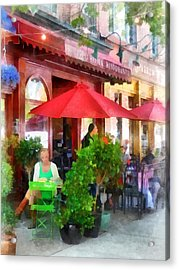 Outdoor Cafe With Red Umbrellas Acrylic Print by Susan Savad