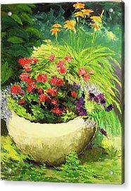Outdoor Flower Pot  Acrylic Print by Nicolas Bouteneff