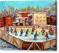Outdoor Hockey Fun Rink Hockey Game In The City Montreal Memories Paintings Carole Spandau Acrylic Print by Carole Spandau