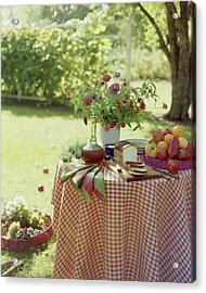 Outdoor Lunch In The Shade Of A Tree Acrylic Print by Wiliam Grigsby
