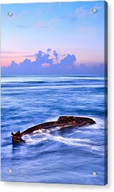 Outer Banks - Beached Boat Final Sunrise II Acrylic Print by Dan Carmichael