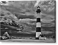 outer Banks - Stormy Day at Bodie Lighthouse BW Acrylic Print by Dan Carmichael