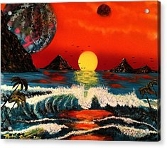 Acrylic Print featuring the painting Outer Worlds by Michael Rucker