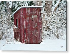 Outhouse Garden Shed In Winter, Marion Acrylic Print