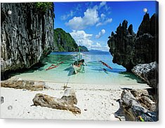 Outrigger Boat On A Little White Beach Acrylic Print