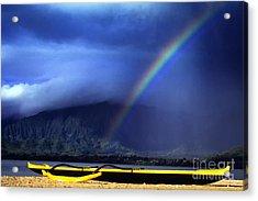 Outrigger Canoe And Rainbow Acrylic Print by Thomas R Fletcher