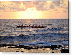 Outrigger Canoe At Sunset In Kailua Kona Acrylic Print