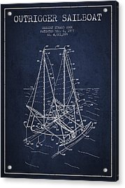 Outrigger Sailboat Patent From 1977 - Navy Blue Acrylic Print