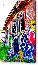 Outside An Entrance To The Old Train Roundhouse At Bayshore Near San Francisco Altered  Acrylic Print by Jim Fitzpatrick