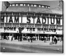 Outside Of Miami Stadium Acrylic Print by Retro Images Archive