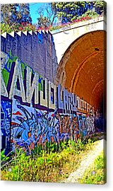 Outside The Abandoned Train Tunnel South Of The Old Train Roundhouse At Bayshore Near San Francisco  Acrylic Print by Jim Fitzpatrick