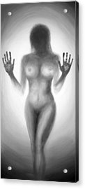 Acrylic Print featuring the painting Outsider Series - Trapped Behind The Glass by Lilia D